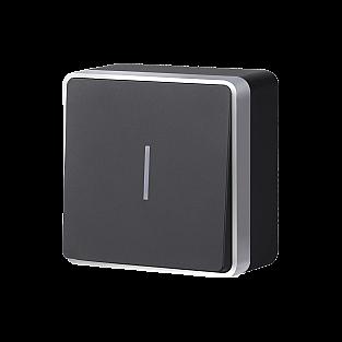 Выключатель одноклавишный с подсветкой Gallant (черный с серебром) WL15-01-04