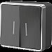 Выключатель двухклавишный с подсветкой Gallant (графит рифленый) WL15-03-03