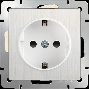 Розетка с заземлением (перламутровый рифленый) WL13-SKG-01-IP20