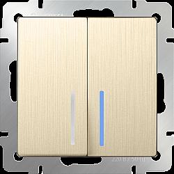 Выключатель двухклавишный с подсветкой (шампань рифленый) WL10-SW-2G-LED