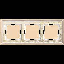 Рамка на 3 поста (золото/белый) WL77-Frame-03