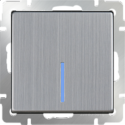 Выключатель одноклавишный проходной с подсветкой (глянцевый никель) WL02-SW-1G-2W-LED