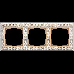 Рамка на 3 поста (белое золото) WL07-Frame-03