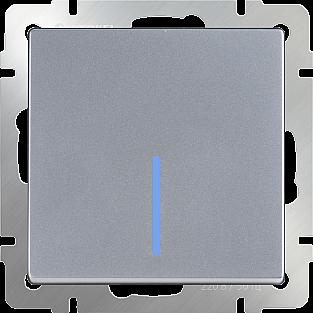 Выключатель одноклавишный с подсветкой (серебряный) WL06-SW-1G-LED