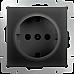 Розетка с заземлением (черный матовый) WL08-SKG-01-IP20
