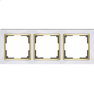 Рамка на 3 поста (белый/золото) WL03-Frame-03-white-GD