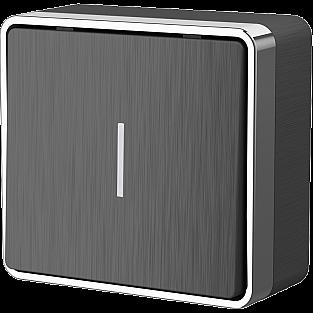 Выключатель одноклавишный с подсветкой Gallant (графит рифленый) WL15-01-04