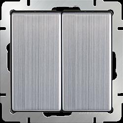 Выключатель двухклавишный (глянцевый никель) WL02-SW-2G