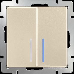 Выключатель двухклавишный проходной с подсветкой (шампань) WL11-SW-2G-2W-LED