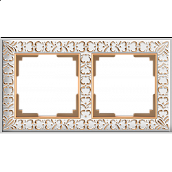 Рамка на 2 поста (белое золото) WL07-Frame-02