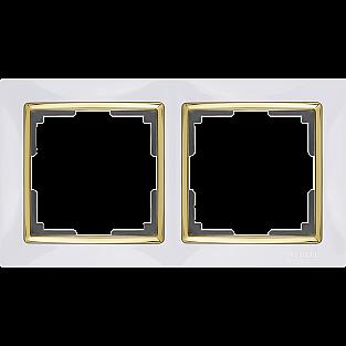 Рамка на 2 поста (белый/золото) WL03-Frame-02-white-GD
