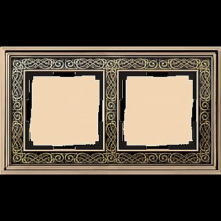 Рамка на 2 поста (золото/черный) WL77-Frame-02