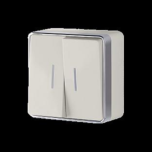 Выключатель двухклавишный с подсветкой Gallant (слоновая кость) WL15-03-03