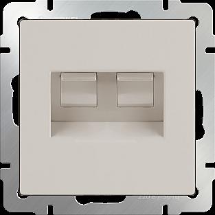 Розетка телефонная RJ-11 и Еthernet RJ-45 (слоновая кость) WL03-RJ11-45-ivory