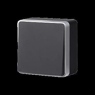 Выключатель одноклавишный Gallant (черный с серебром) WL15-01-01