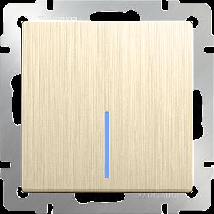 Выключатель одноклавишный с подсветкой (шампань рифленый) WL10-SW-1G-LED