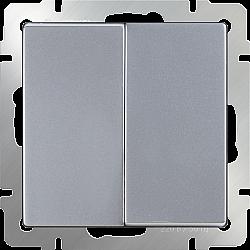 Выключатель двухклавишный проходной (серебряный) WL06-SW-2G-2W