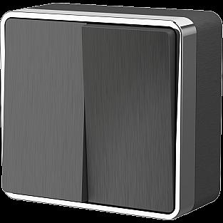 Выключатель двухклавишный Gallant (графит рифленый) WL15-03-01