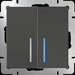 Выключатель двухклавишный с подсветкой (серо-коричневый) WL07-SW-2G-LED