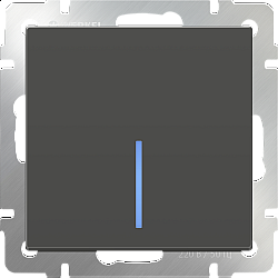 Выключатель одноклавишный проходной с подсветкой (серо-коричневый) WL07-SW-1G-2W-LED