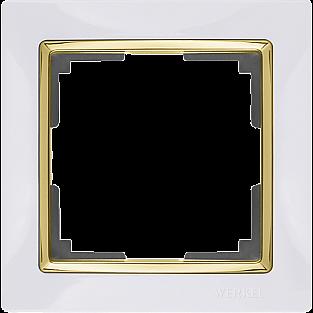 Рамка на 1 пост (белый/золото) WL03-Frame-01-white-GD