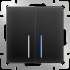 Выключатель двухклавишный с подсветкой (черный матовый) WL08-SW-2G-LED