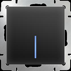 Выключатель одноклавишный проходной с подсветкой (черный матовый) WL08-SW-1G-2W-LED