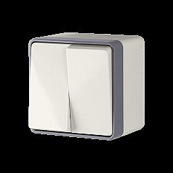 Выключатель двухклавишный влагозащищенный Gallant (слоновая кость) WL15-03-02