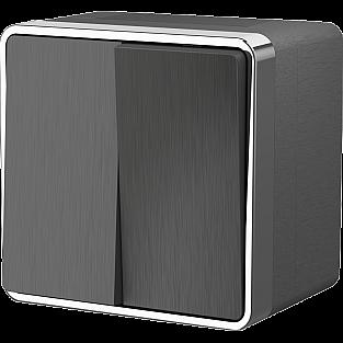 Выключатель двухклавишный влагозащищенный Gallant (графит рифленый) WL15-03-02