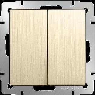 Выключатель двухклавишный проходной (шампань рифленый) WL10-SW-2G-2W