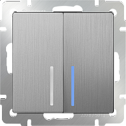 Выключатель двухклавишный с подсветкой (cеребряный рифленый) WL09-SW-2G-LED