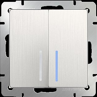 Выключатель двухклавишный с подсветкой (перламутровый рифленый) WL13-SW-2G-LED