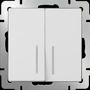 Выключатель двухклавишный с подсветкой (белый) WL01-SW-2G-LED