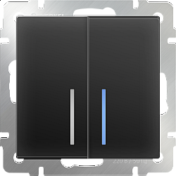 Выключатель двухклавишный проходной с подсветкой (черный матовый) WL08-SW-2G-2W-LED