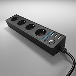 Розеточный блок 4-х местный + 3 USB черный WL20-04-03