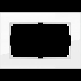 Рамка для двойной розетки (белый,стекло) WL01-Frame-01-DBL