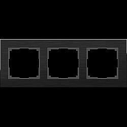 Рамка на 3 поста (черный алюминий) WL11-Frame-03