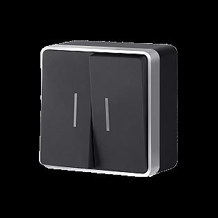 Выключатель двухклавишный с подсветкой Gallant (черный с серебром) WL15-03-03