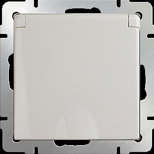 Розетка влагозащ. с зазем. с защит. крышкой и шторками (слоновая кость) WL03-SKGSC-01-IP44-ivory
