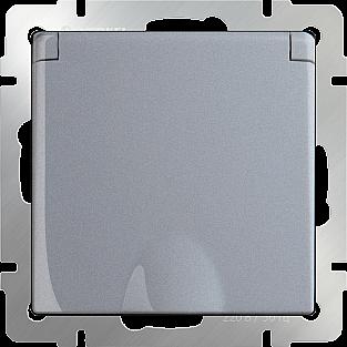 Розетка влагозащ. с зазем. с защит. крышкой и шторками (серебряный) WL06-SKGSC-01-IP44