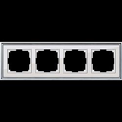 Рамка на 4 поста (хром/белый) WL17-Frame-04