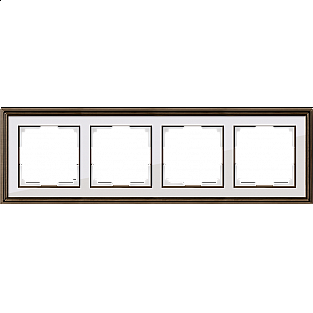 Рамка на 4 поста (бронза/белый) WL17-Frame-04