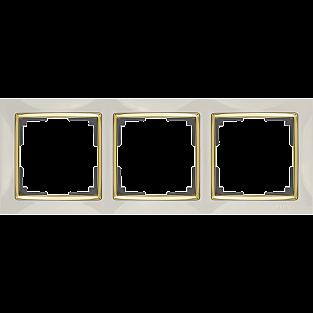 Рамка на 3 поста (слоновая кость/золото) WL03-Frame-03-ivory-GD