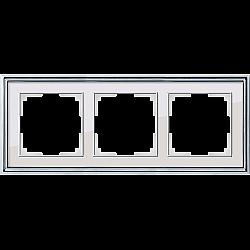 Рамка на 3 поста (хром/белый) WL17-Frame-03