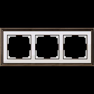 Рамка на 3 поста (бронза/белый) WL17-Frame-03