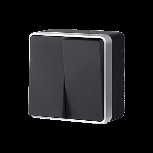 Выключатель двухклавишный Gallant (черный с серебром) WL15-03-01