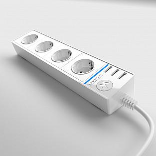 Розеточный блок 4-х местный + 3 USB белый WL20-04-03