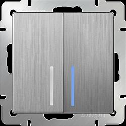 Выключатель двухклавишный проходной с подсветкой (cеребряный рифленый) WL09-SW-2G-2W-LED