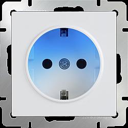 Розетка с заземлением и подсветкой (белая) WL01-10-03