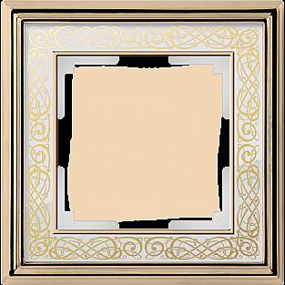 Рамка на 1 пост (золото/белый) WL77-Frame-01